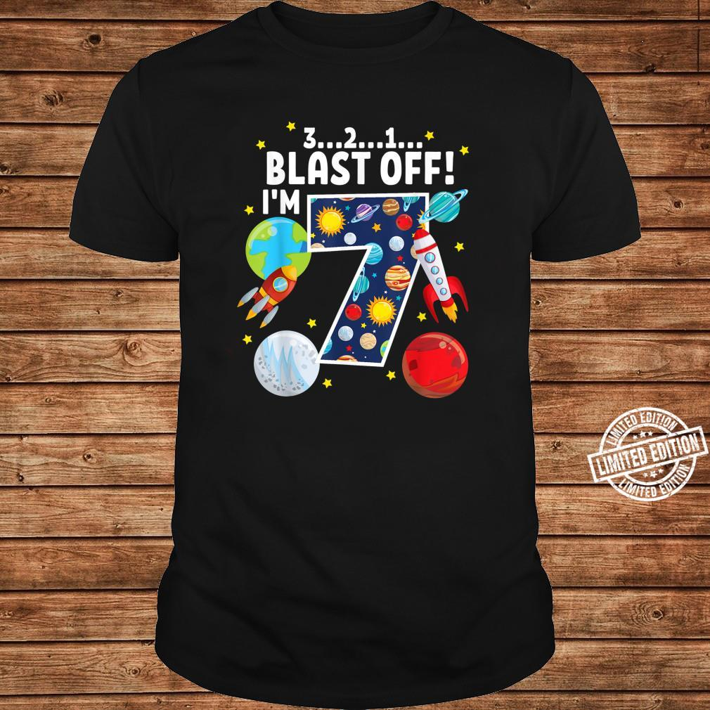 Outer Space 321 Blast Off 7. Geburtstag Party Space Shirt long sleeved