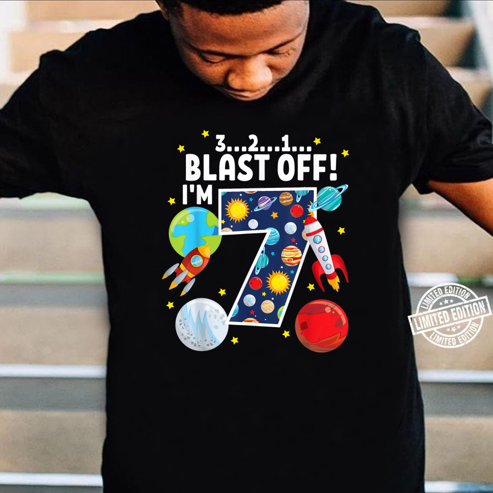 Outer Space 321 Blast Off 7. Geburtstag Party Space Shirt